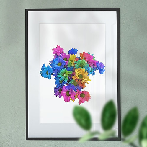 Wall Art Print of Multicolour Flowers with a Digital Effect