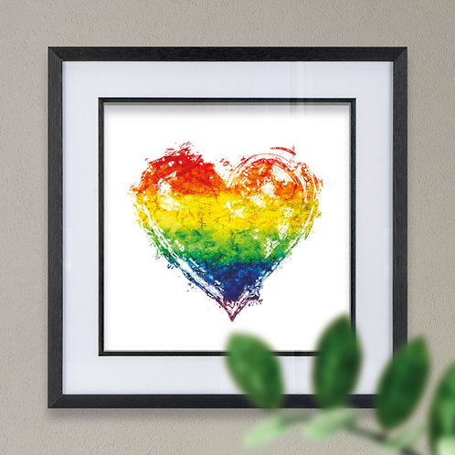 Framed Rainbow Heart Wall Art Print