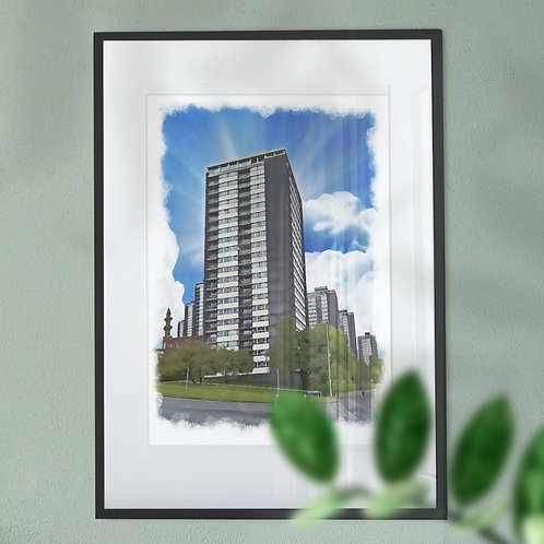 Rochdale Seven Sisters with a Blue Sky Wall Art Print - Oil Painting Effect