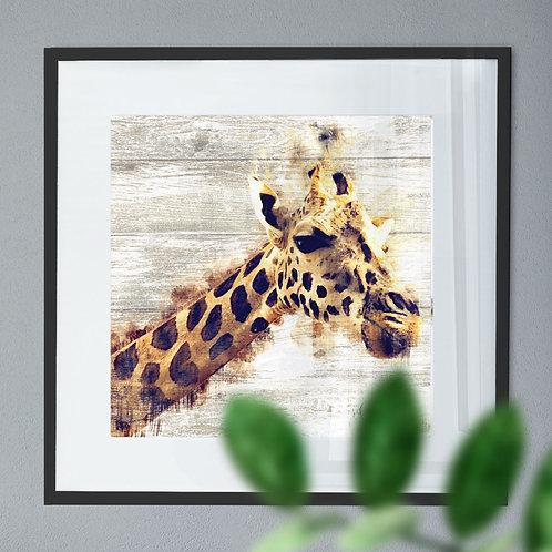Watercolour Image of A Giraffe On Wood Effect Background Wall Art Print