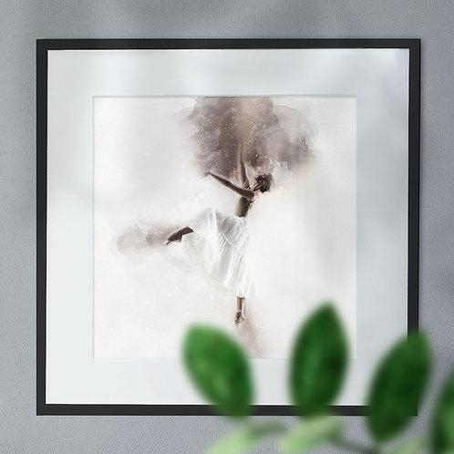 Ballet Dancer on Black Explosion Background Wall Art Print