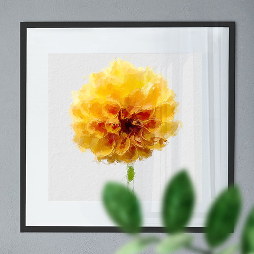 Oil Painting Wall Art Print of A Yellow Dahlia