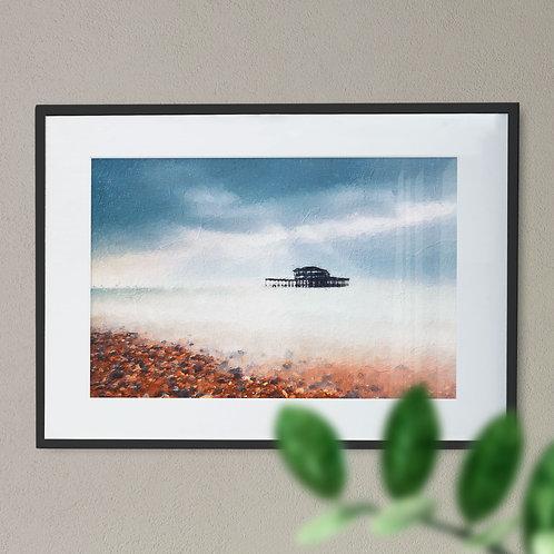 A Digital Wall Art Print of Brighton Pier Rough Brushstroke