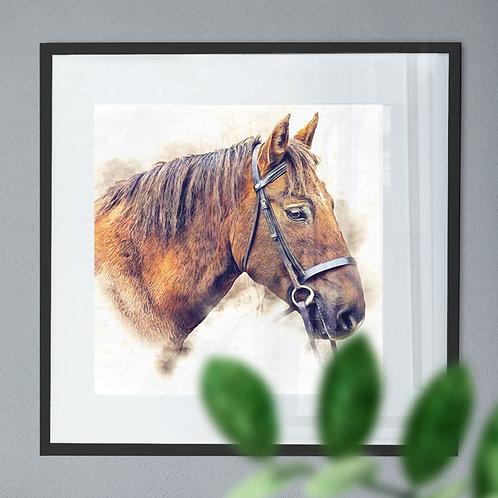 Digital Watercolour Wall Art Print of a Horse