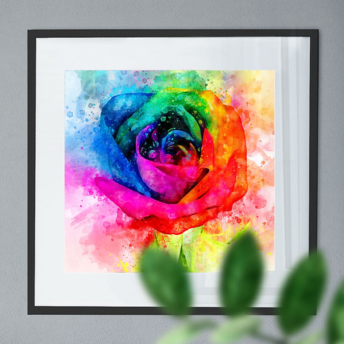 Abstract Watercolour Painting - Wall Art Print of a Rainbow Rose