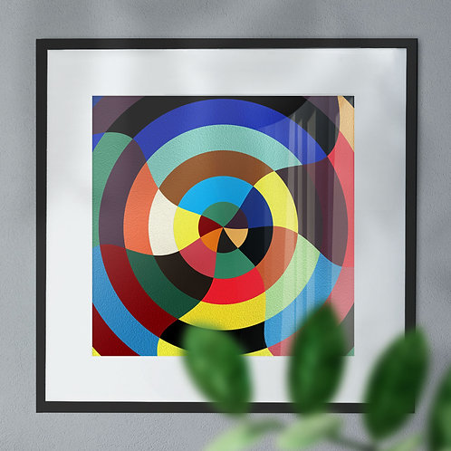 Multi Colour Abstract Target Digital Wall Art Print (Abstract)