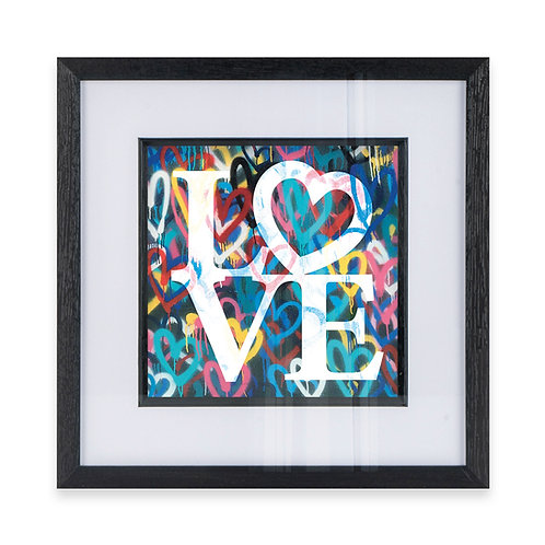 LOVE Typography with Heart Wall Art Print On Hearts Background