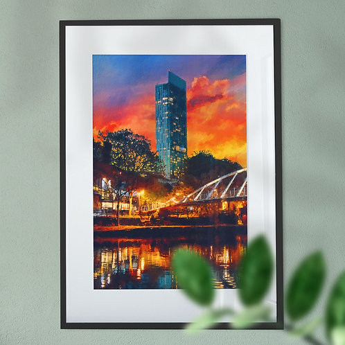 Beetham Tower Manchester with Orange and Blue Sky Wall Art Print