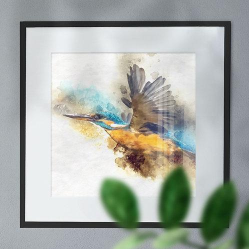 Watercolour Image of Stunning Kingfisher in Flight Wall Art Print