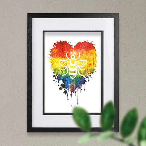 Manchester Bee Rainbow Heart Wall Art Print