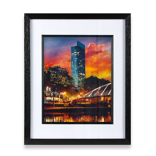 Beetham Tower Manchester with Orange and Blue Sky Framed Print