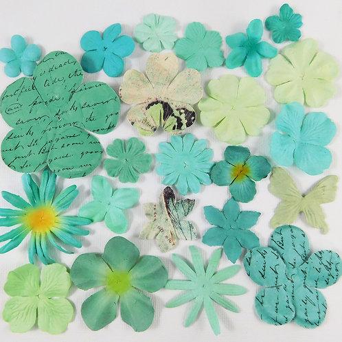 Prima Paper Flowers Mint Teal Aqua Blue Assortment No 516 Scrapbooking Supplies