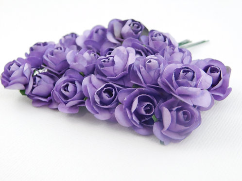 Purple Mini Paper Flowers roses with stems supply Floral Flowers craft scrapbook