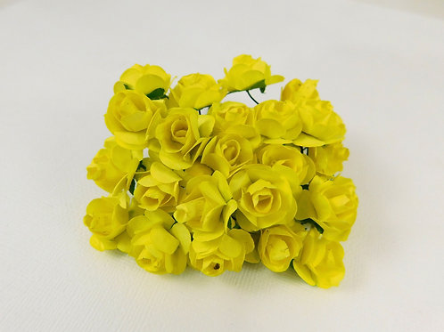 2 cm Sunshine Yellow Paper Flowers roses with stems floral supplies embellishmen