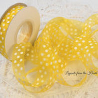 Lemon Sunshine Yellow Sheer Polka Dot Organza Ribbon 3 Yards 5/8 inch