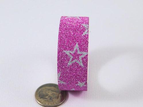Pink Silver Glitter Star Washi Tape Roll 15mm 3.5 meters (3.83 yards) Embellishm