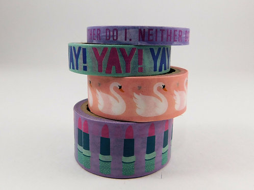 Washi Tape The Paper Studio Deco Tape Swans Lipstick Peach Purple Mascara