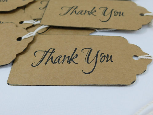 Handmade Thank you tags kraft cardstock scrapbooking wedding cards embellishment