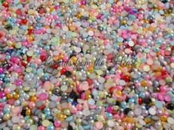 Acrylic Flat back Pearls 100 per pack 6 mm size - Random Mix