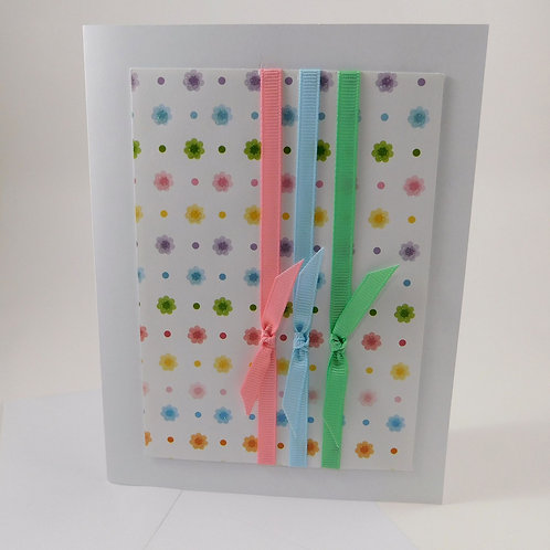 Handmade All Occasion Greeting Card Pastel Glitter Flowers Ribbon