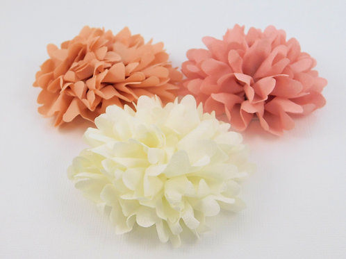 Fabric Flowers Assorted Colors Cream Peach, Pink scrapbooking hair accessories c
