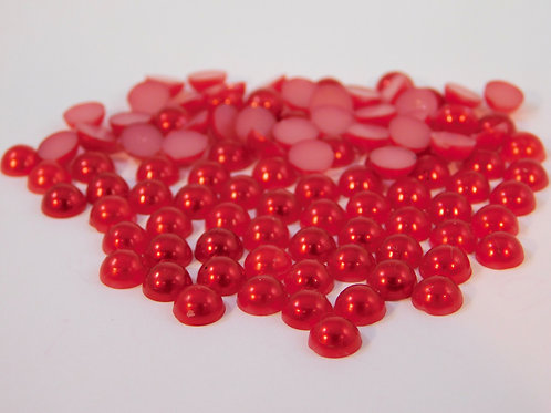 Red Colored Acrylic Flat back Pearls 100 per pack 6 mm Half Pearls