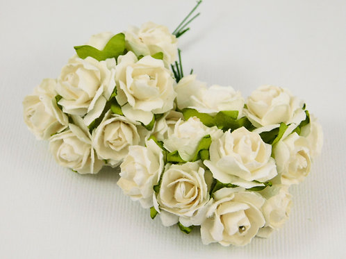 Wavy White Off white Mini Paper Flowers roses with stems supply Floral craft