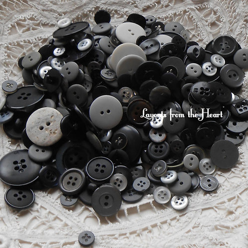 Buttons Embellishments Random Assortment Shades of Gray (gray) Black