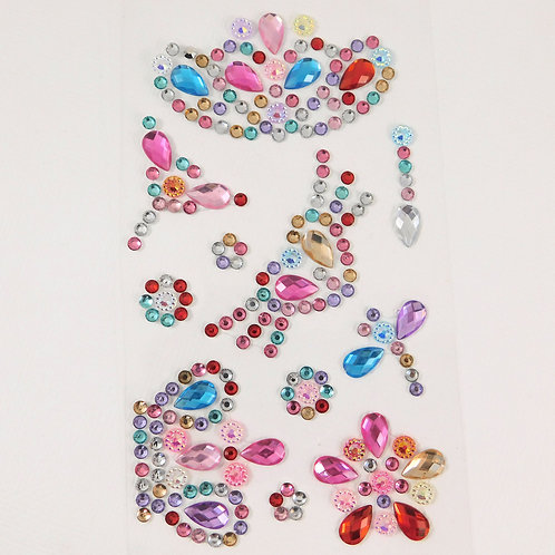 Rainbow Flourish Crown Heart Dragonfly Flowers AB Sticker rhinestone gems