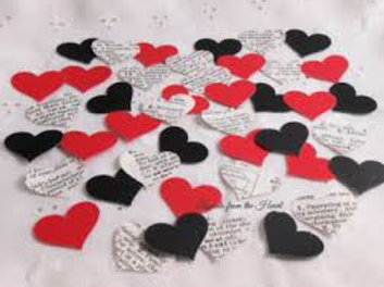 Valentine Love Black, Red and Vintage Dictionary Hearts Cardstock