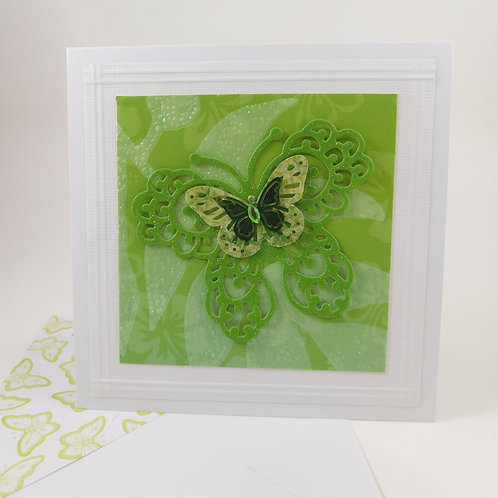 Handmade All Occasion Greeting Card Paper butterflies green die cut