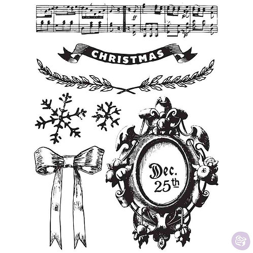 A Royal Christmas Clear Stamp Set from Prima Marketing 582654 music notes
