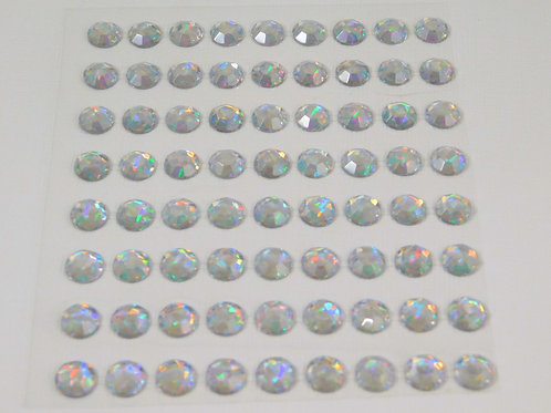 Clear Iridescent Acrylic Flatback Rhinestones 72 per pack 9mm Round Rhinestone E