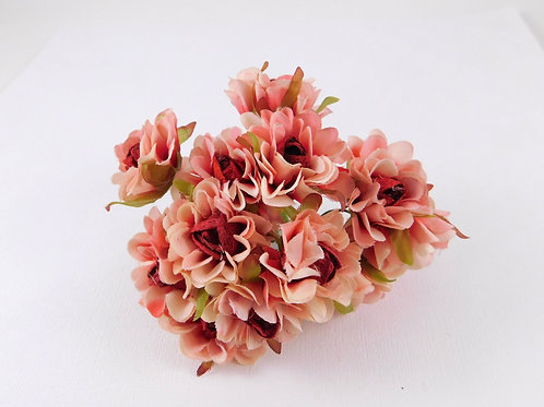 3.5cm Red Pink Ivory Fabric Flowers with stems supply Floral craft scrapbooking