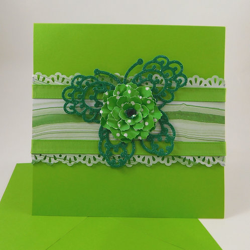 Handmade All Occasion Greeting Card Paper butterflies green ribbon flower