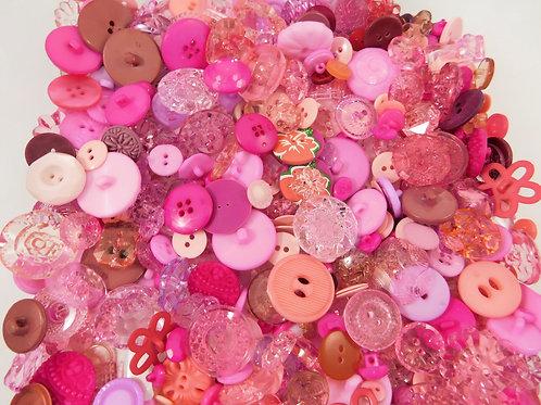 Buttons Embellishments Random Assortment Shades of Pink