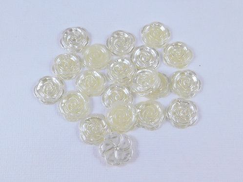 Ivory Flat Back Pearl Rose Flower Embellishments 18mm scrapbooking crafts journa