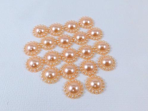 Light Orange Champagne Flat Back Pearl Flowers 12mm embellishments craft supply