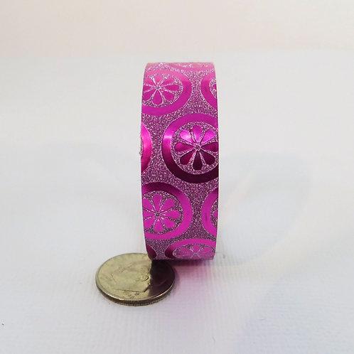 Pink Glitter Metallic Flower Scatter Washi Tape 15mm 3.5 meters