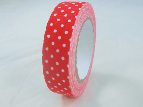 Fabric Tape Roll 10 m 15 mm red and white dots Embellishment crafts scrapbooking