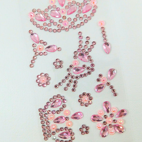 Light Pink Flourish Crown Heart Dragonfly Flowers AB Sticker rhinestone gems