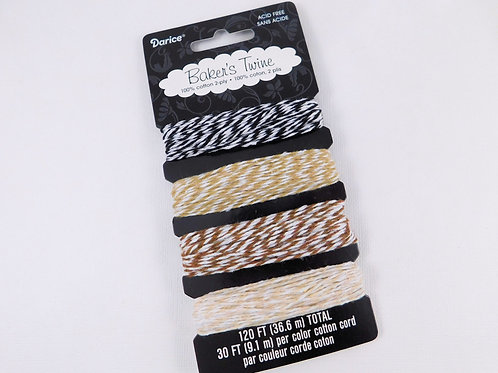 Darice Baker's Twine Cotton Cappuccino pack 4 colors BT108 Craft String Stripes