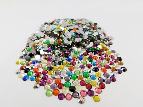 120 Multicolored Acrylic Flatback Round Rhinestones 4mm Embellishment gems