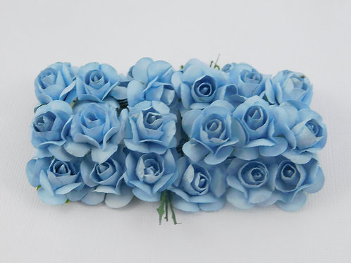 Light Blue Mini Paper Flowers roses with stems supply Floral Flowers craft