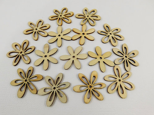 14 Delicate Wooden Flowers Assortment Loopy sampler crafts scrapbooking