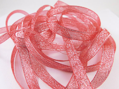 Coral Red Silver Metallic 1cm ribbon 5 yard Embellishment Sheer Shiny