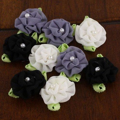 Prima Fabric Flowers Trixie Cinder White Black Grey Item 557188 floral embellish