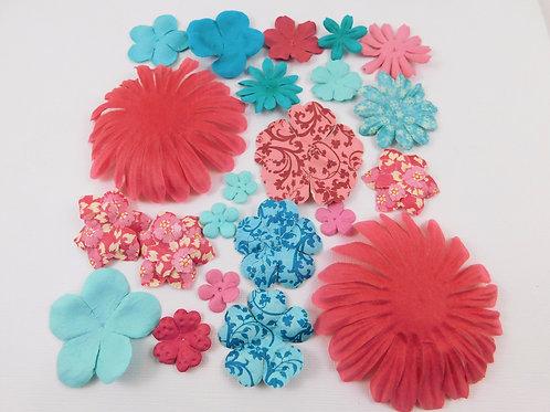 Prima Paper Flowers Dark Pink and Blue Assortment No 373 Got Flowers