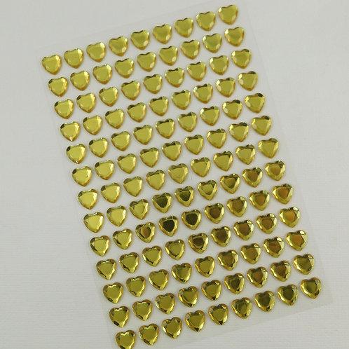 Yellow Heart Rhinestones Stickers Scrapbook Embellishment gems self adhesive