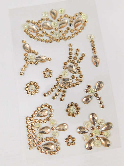 Champagne Flourish Crown Heart Dragonfly Flowers AB Sticker Floral rhinestone